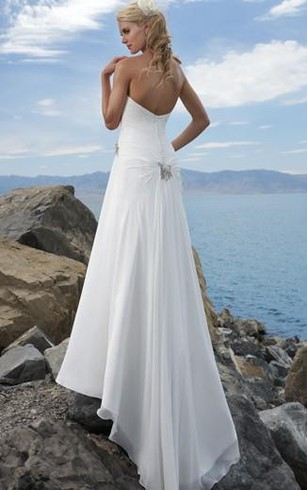sheath Strapless Chiffon Wedding Dress
