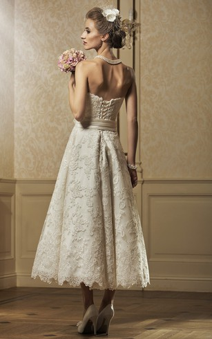 Lace Wedding Dress with Pink Flowers