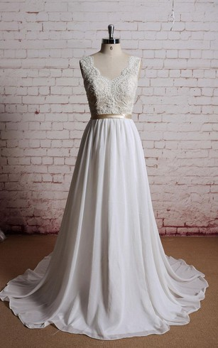 A Line Chiffon Sleeveless Dress With Lace Bodice And Satin Bow Sash