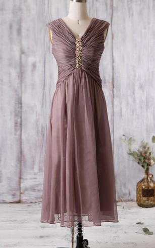 V Neck Cap Sleeved A Line Chiffon Long Dress With Beading