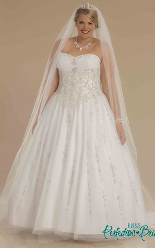 Ball Gown Sweetheart Ruched Tulle Plus Size Wedding Dress With Beading