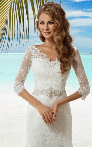 Mermaid Long V-Neck T-Shirt-Sleeve Lace-Up Lace Dress With Beading And Appliques