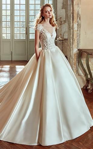 Satin bridal dresses satin aline wedding dress dorris wedding v neck a line wedding dress with lace bodice and satin skirt junglespirit Choice Image