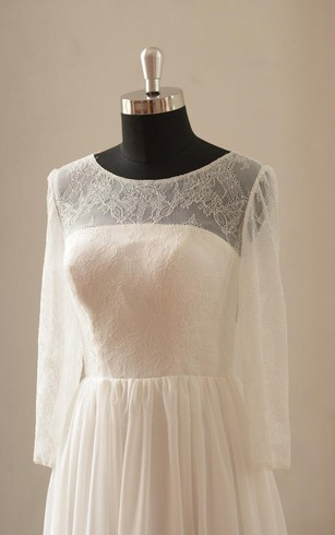 Long Sleeve Pleated Chiffon A-Line Dress With Jewel Neckline and Lace Bodice