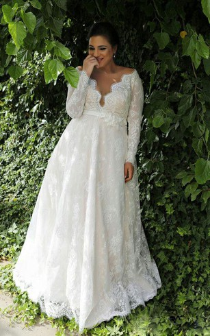 Full figure size bridal dresses wedding dress for plus women sexy sheer v neck long sleeves lace floor length garden plus size wedding dress junglespirit Choice Image