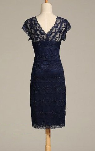 V Neck Cap Sleeve Sheath Lace Midi Dress With V Back