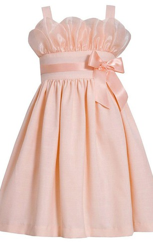 Sleeveless A-line Pleated Dress With Bow and Straps