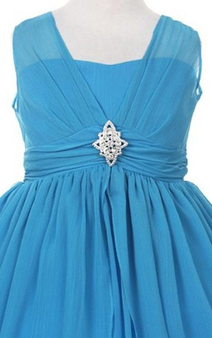Cap-sleeved A-line Pleated Dress With Bow and Beadings