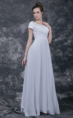 Classic Beaded Scoop-neck Empire Waist A-line Chiffon Wedding Gown