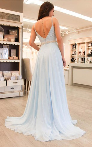 Light Shade Blue Color Prom Gowns Blue Formal Dresses Dorris Wedding