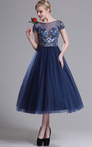 wedding gown tea length with sleeves blue pink