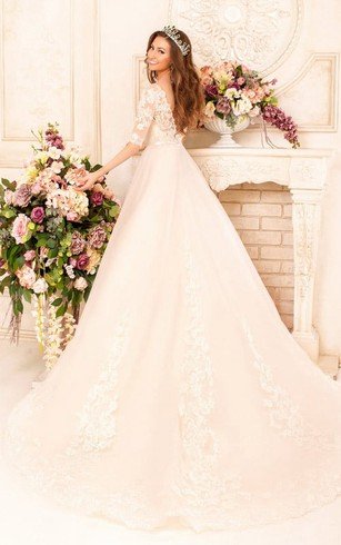 Ball Gown Long Bateau Half-Sleeve Deep-V-Back Lace Dress With Appliques And Waist Jewellery
