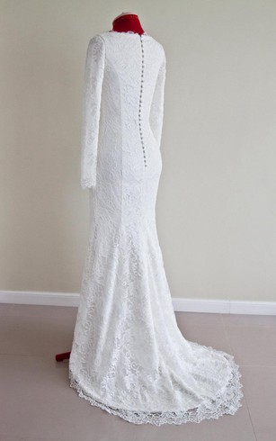 a483983d ... Lace Bateau Neck Long Sleeve Mermaid Wedding Dress With Buttoned Back