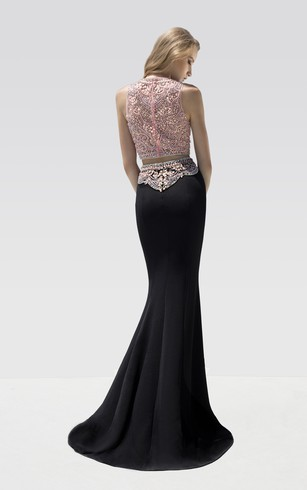 Sheath Floor-Length Jewel-Neck Sleeveless Jersey Beading Dress