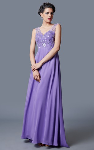 Sophisticated Elegant Beaded V-neck Chiffon Prom Gown With Open Back