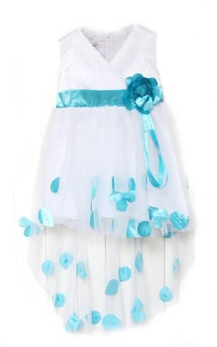 12e7447a41 Sleeveless V-neck High-low A-line Dress With Petals ...
