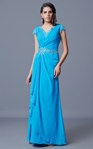 Clic V Neck Long Chiffon Dress With Low Back