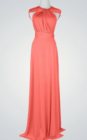 Cap Sleeve A-line Jersey Long Dress With Criss Cross Back