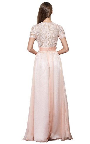 Short-sleeved V-neck Long Dress with Lace