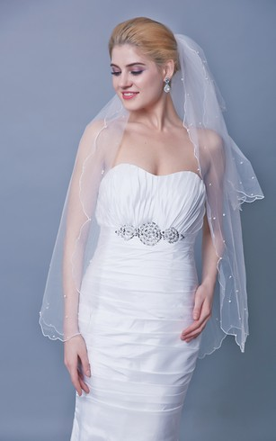 Three Tier Mid Length Veil With Beadings