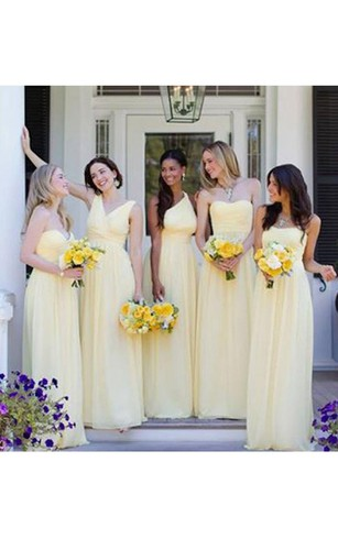 Cheap yellow color bridesmaids dresses bridesmaid gown with yellow sleeveless v neck floor length chiffon dress with pleats junglespirit Images