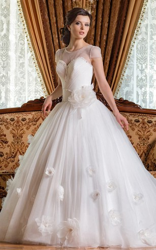 Ball Gown Floor-Length Scoop Short-Sleeve Corset-Back Tulle Dress With Flower And Beading