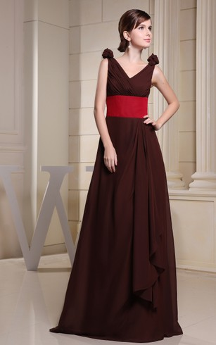 Muti-Color V-Neck Ruched Maxi Dress With Ruching and Flower
