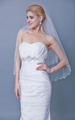 Beaded Trim Two Tier Mid Veil