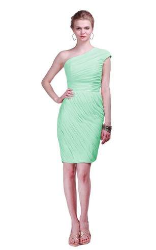 Cap-sleeve One-shoulder Ruched Short Sheath Gown