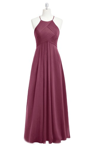 e9f7f55faea Ruched and Pleated A-Line Long Chiffon Sleeveless Dress With Halter ...