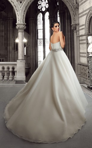 Pleated Organza Ball Gown with Rhinestones