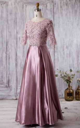 Scoop Neck Half Sleeve A Line Pleated Satin Long Dress With Lace V Back