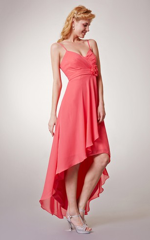 High-low Chiffon Dress With Spaghetti Straps and Floral Detail