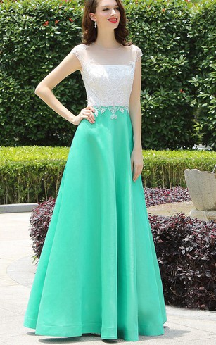 Empire Floor-Length Bateau Short Sleeve Empire Taffeta Lace Lace Illusion Dress