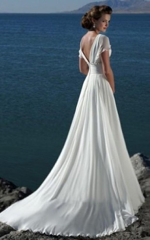 A Line V Neck Short Sleeves Beading Sweep Train Chiffon Beach Wedding Dress