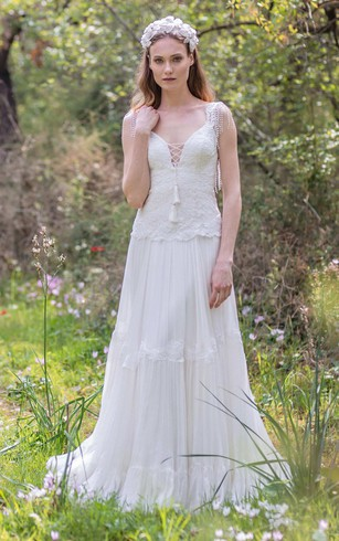 Bohemian style wedding dress for women boho bridals dresses on sale plunged a line pleated wedding dress with appliques and beading junglespirit Choice Image