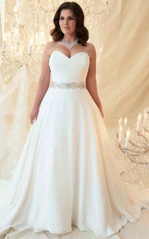 A Line Sweetheart Jeweled Chiffon Plus Size Wedding Dress With Criss Cross And Zipper