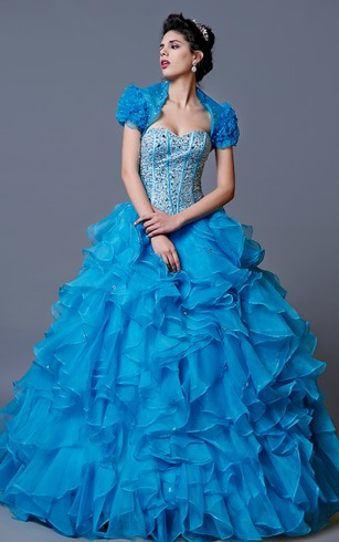 Quirky Glam Ball Gown With Bolero and Lace Up