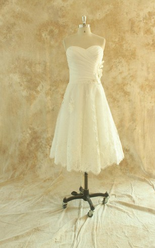A Line Tea Length Lace Wedding Dress With Ruching And Sweetheart Neck