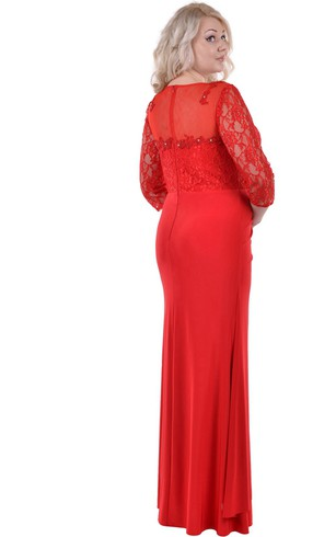 Sheath Bateau 3 Taffeta Lace Zipper Dress