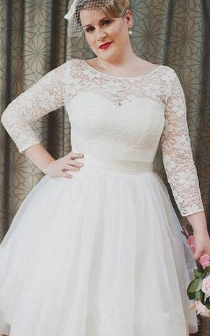 ... Plus Size Vintage Style Scoop Neckline 3 4 Long Sleeve Lace Tea Length  Bridal Gown