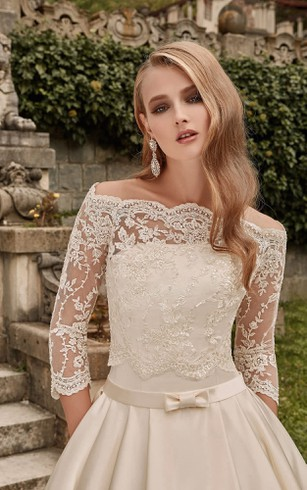 Off-the-shoulder Long A-line Satin Wedding Dress With Lace Bodice