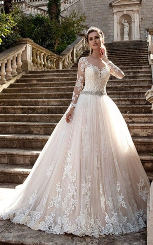 Cheap wedding dresses fashion discount wedding dresses dorris wedding a line short v neck long sleeve bell t shirt beading appliques sweep junglespirit Choice Image