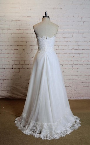 Sweetheart Sleeveless A-Line Tulle Dress With Lace Edging