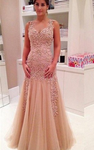 Delicate Lace Appliques Mermaid 2016 Prom Dress Zipper Straps Sleeveless
