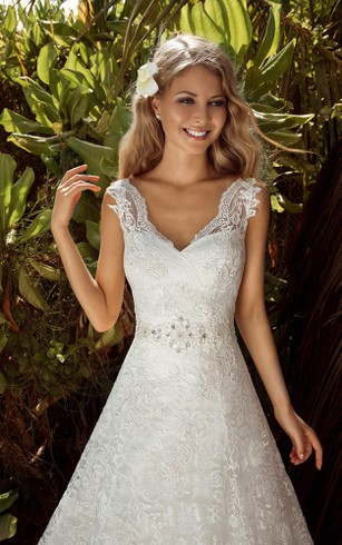 A-Line Long V-Neck Sleeveless Corset-Back Lace Dress With Beading