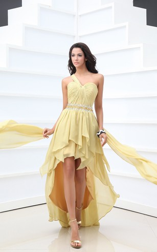 High-Low Chiffon One-Shoulder Dress With Ruching