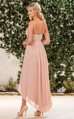 Halter A Line High Low Bridesmaid Dress With Crisscrossed Ruches
