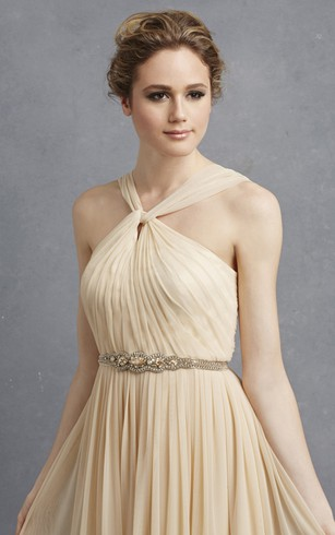 Long-Chiffon Unique Dress With Pleats And Beading