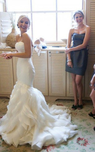 Vera wang rental wedding gown designer bridal dress dorris wedding trumpet sleeveless court train sweetheart ruffles satin organza wedding dresses junglespirit Gallery
